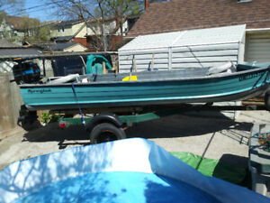 14 ft aluminum boat 20 hp mercury trailor