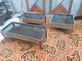 3 x Retro glass top coffee tables