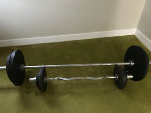 Gold gym weight.  Olympic bar and curl bar