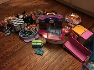 Assorted Barbie and Polly Pocket toys
