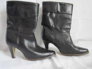 Black ALL Leather Boots NEW