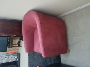 Custom Red microsuede chairs