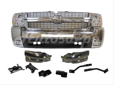 2500 Hd Front Bumper Bracket (For 07-10 SILVERADO 2500HD FRONT BUMPER CHROME FOG GRILLE HEADLIGHT BRACKET)