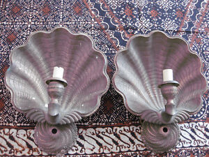 VINTAGE PAIR LARGE BRASS WALL LIGHTS/CANDLE HOLDERS
