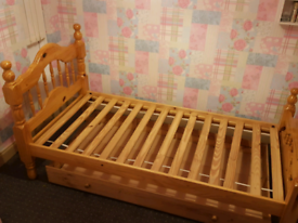 SOLID PINE SINGLE BED AND MATTRESS