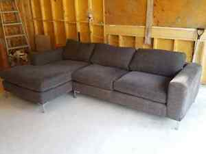 Dark grey, modern couch with chaise lounge Windsor Region Ontario image 1