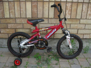 """Boys' Infinity 16"""" wheel bike w/tr. wheels and front suspension"""