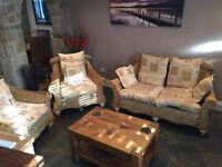 3 Piece Conservatory Sofa Suite Latin & English Writing Wicker Frames