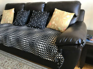 Black bonded leather Couch ( 3 seater and love seat)