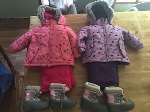 2-12 month Oshkosh snowsuits, boots, hats and mitts.