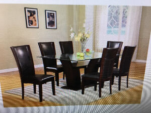 Rectangular modern dining table with chairs