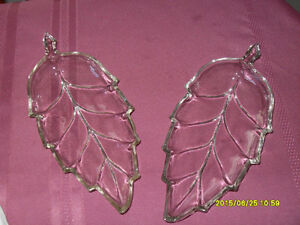 2  Leaf shaped cut glass leaf dishes
