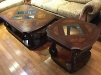 Pair of Classic and Elegant Wood Coffee Table and Side Table