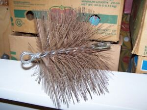 WIRE CHIMNEY BRUSH - 8 INCH SQUARE PLUS A CAP - EXCELLENT