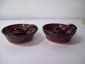 JAMESTOWN ANTIQUE REPRODUCTION REDWARE POTTERY CANDLE STICKS