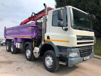 2014 DAF CF 85.360 8x4 steel tipper Epsilon M125L crane with grab