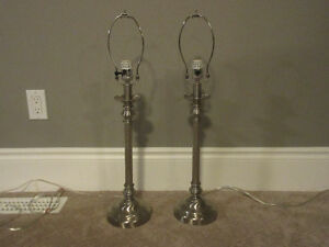 Classic Brushed Table Lamp Pair