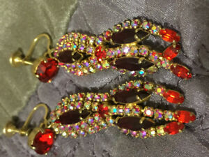 Vintage Sherman red drop earrings. Signed and mint condition