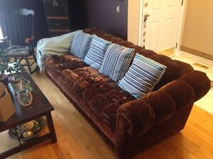 Classic Brown Velvet Couch