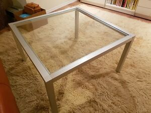 Glass metal square coffee table