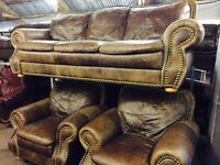 As new full leather 3 11 sofa set