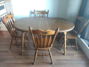 Solid Real Wood Dining Table with 4 Chairs-Can Deliver