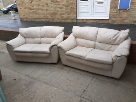 Pair of cream leather couches - free