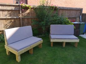 2 x Wooden Garden Sofas with foam