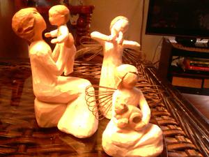 3 pc. Willow Creek Sculptures. Handmade. Costs 60.00 new. 18.00.