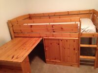 Bed frame with cabinet and desk