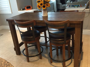 Counter height Harvest Table with 4 stools