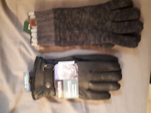 Mens leather gloves and roots gloves new with tags