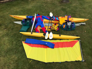 17 FT. KEVLAR SEA KAYAK W OUTRIGGER, SAILS AND ACCESSORIES