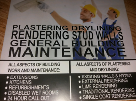 PLASTERING GENERAL MAINTENANCE.