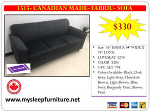 BRAND NEW- CANADIAN MADE SOFAS, SECTIONALS- DELIVERY- $25 AND UP