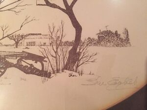 Professionally framed farm sketch, signed by artist Cambridge Kitchener Area image 2