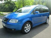 04/54 VW TOURAN SPORT 2.0 TDI 7 SEAT MPV IN MET BLUE WITH SERVICE HISTORY