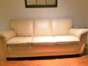 Cream Leather Sofa / Couch - $400 OBO by Friday!
