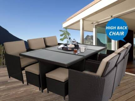NEW 12 Seaters Wicker Outdoor Dining Set With High Back Chairs