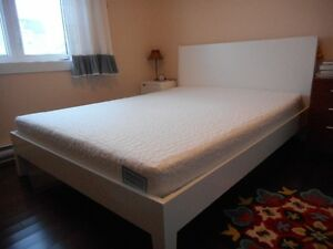 Ikea Queen size bed, Purelatexbliss mattress, Ikea night stand