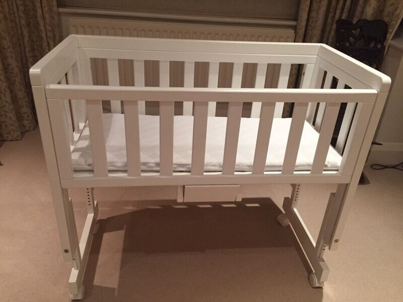 White John Lewis Troll bedside crib cot