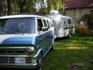 '66 Airstream Food Trailer and '73 Boogie Van Towing Vehicle