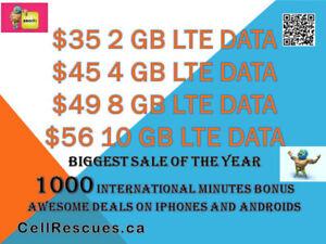 Unlimited CANADA TELUS KOODO Plans 8GB/10GB LTE $49/$56 per mo