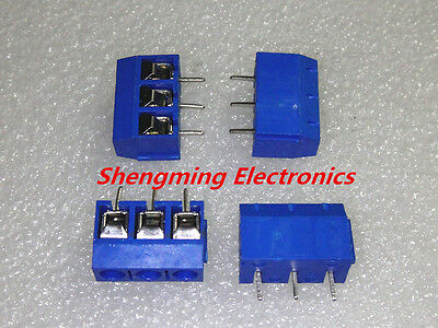 100pcs Kf301-3p Screw Terminal Block Connector 5.0mm Pitch