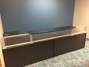 Reception desk, computer, printer, chairs, tables, etc, office
