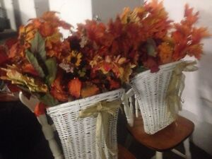 Fall flower decorations in baskets