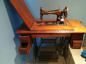 Antique Singer Sewing Machine and Accessories, 1898 Model
