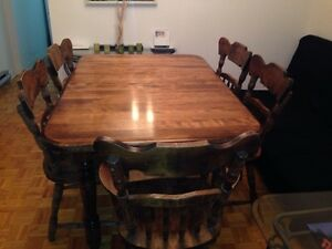 Fully solid wooden dinning table with 5 chairs!