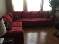 BEAUTIFUL RED L SHAPED SECTIONAL