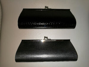 Small evening clutch, black or silver with mini chain strap